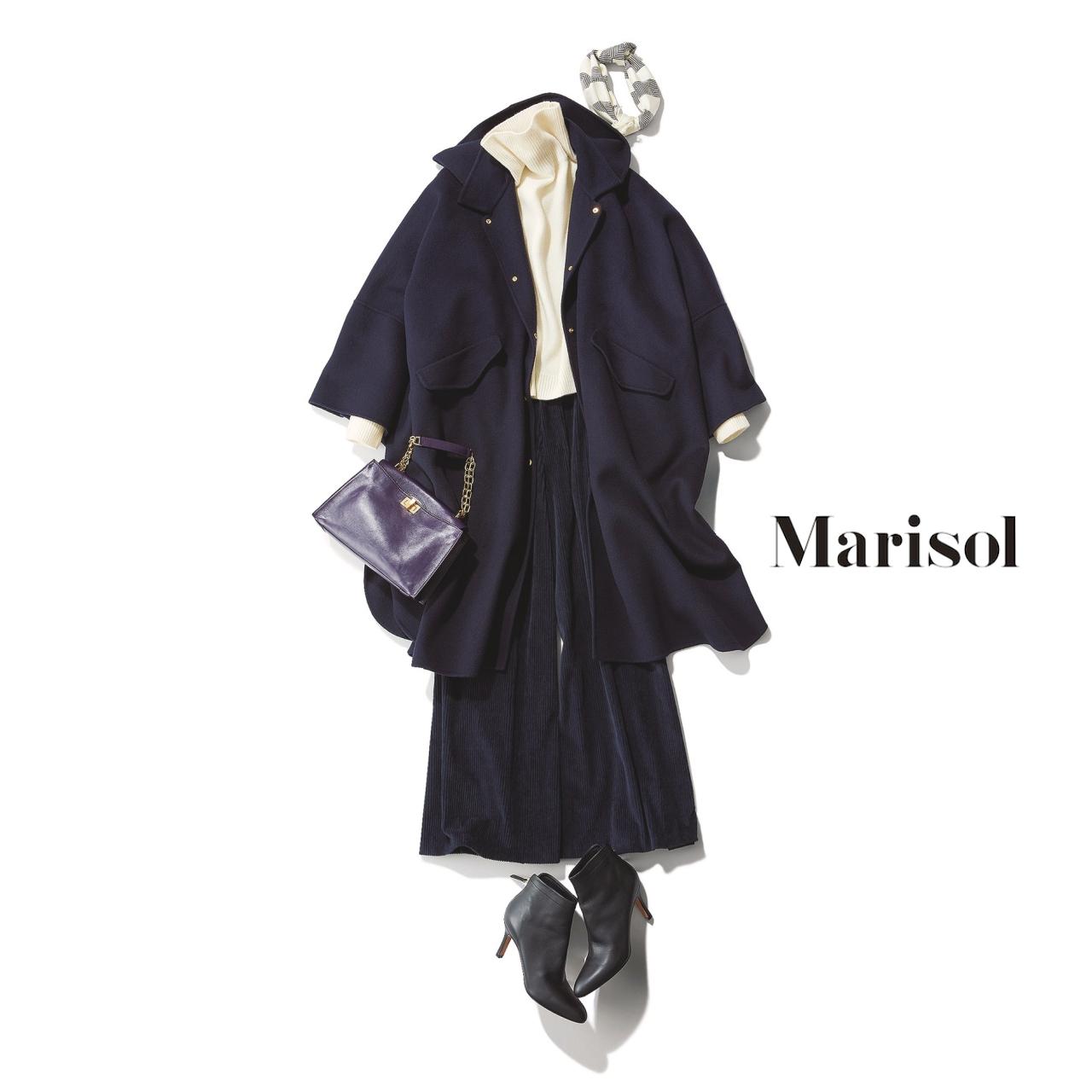 40代ファッション ポンチョ×タートルネックニット×ワイドパンツコーデ