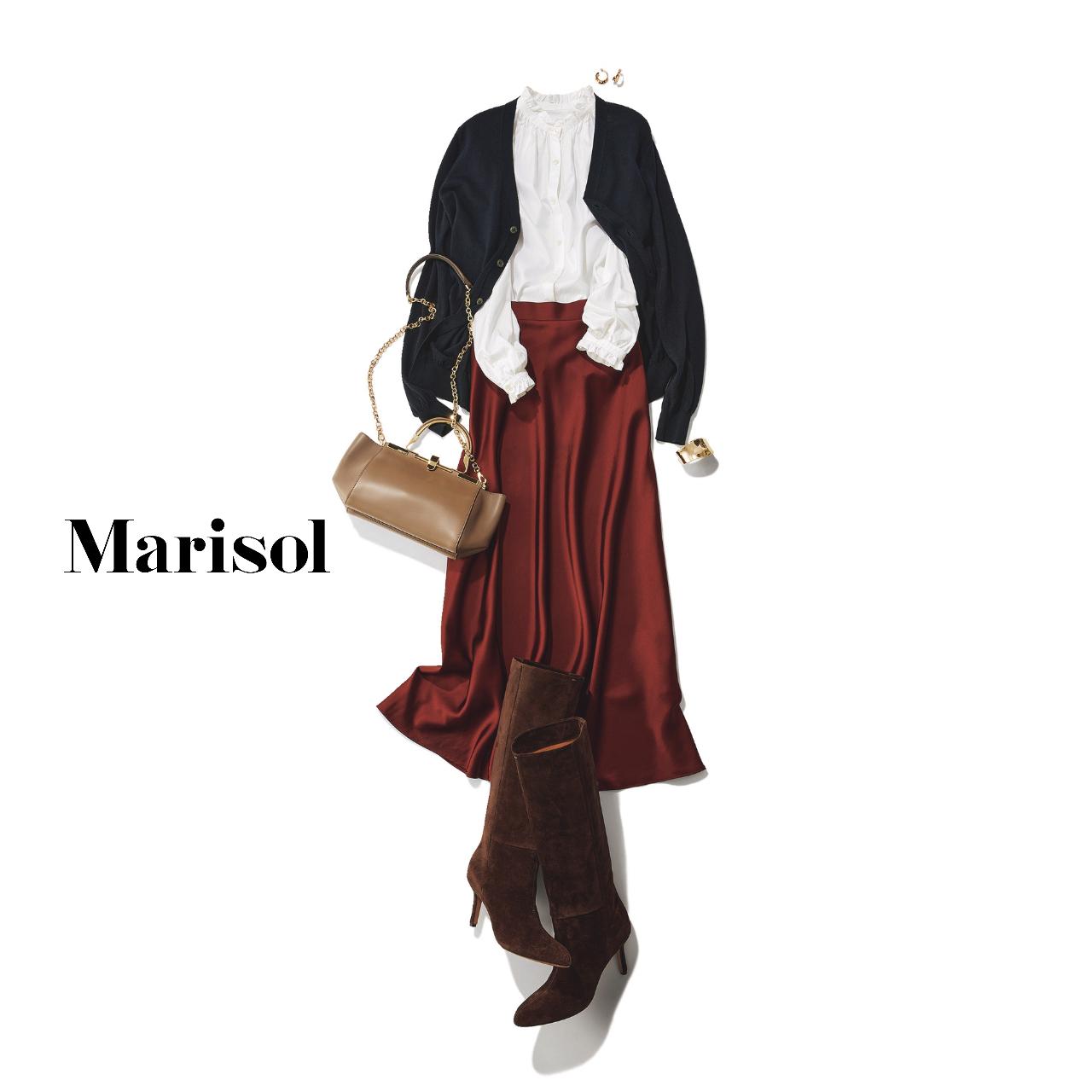 40代ファッション  フリルシャツ×カーディガン×スカート×ロングブーツコーデ