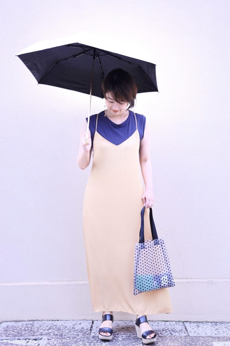 お気に入りの褒められ日傘と、美シルエットのユニクロキャミワンピ。_1_5