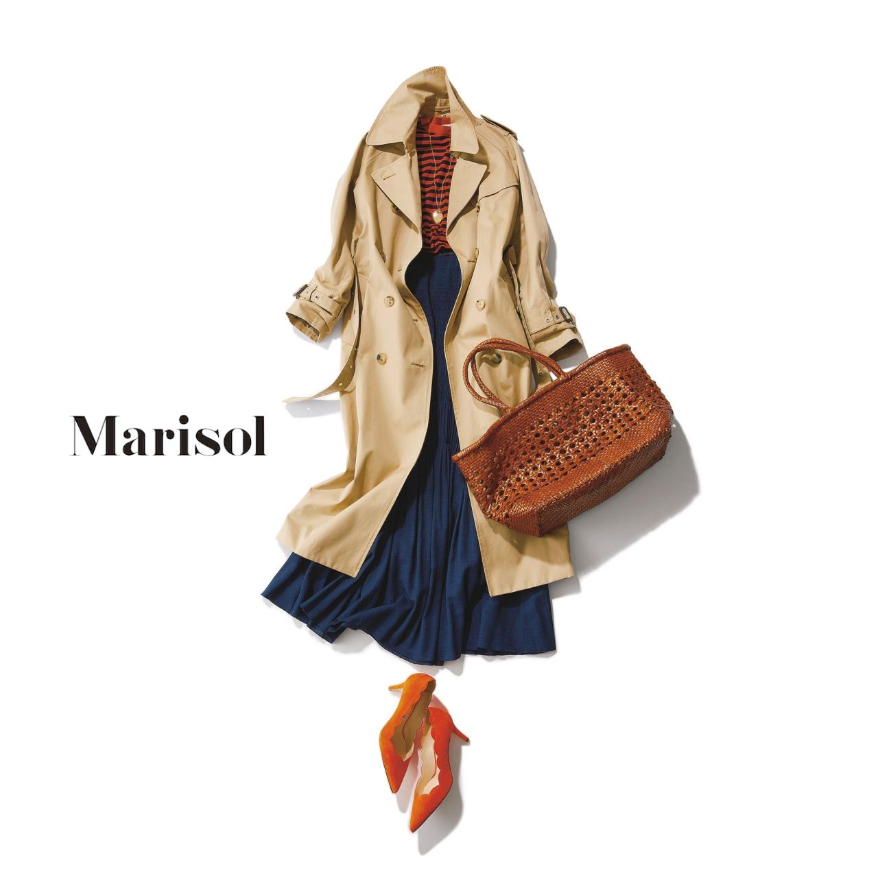 40代ファッション ベーシックトレンチ×オレンジカラーコーデ