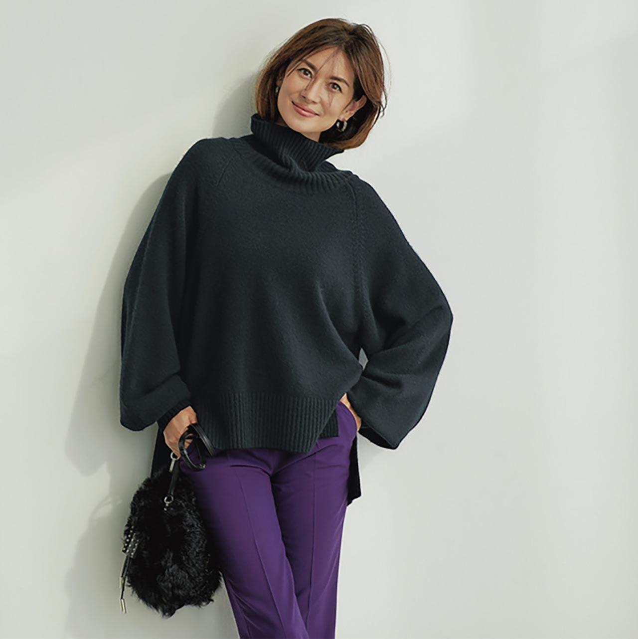 ボリュームニット×カラーパンツコーデを着たモデルのブレンダさん
