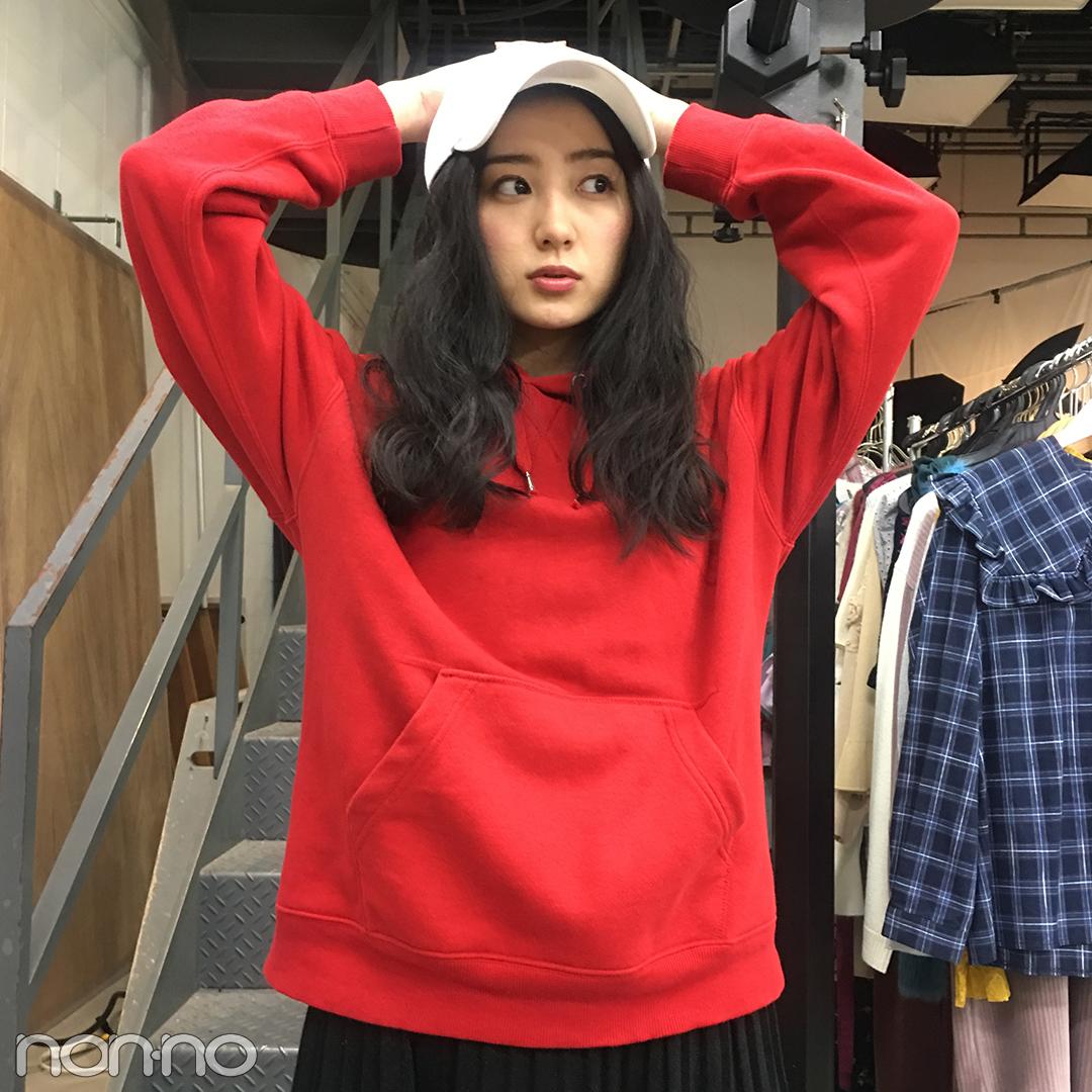 高田里穂のクールカジュアル♡ 赤のパーカはGUのメンズライン!【モデルの私服】_1_2-4