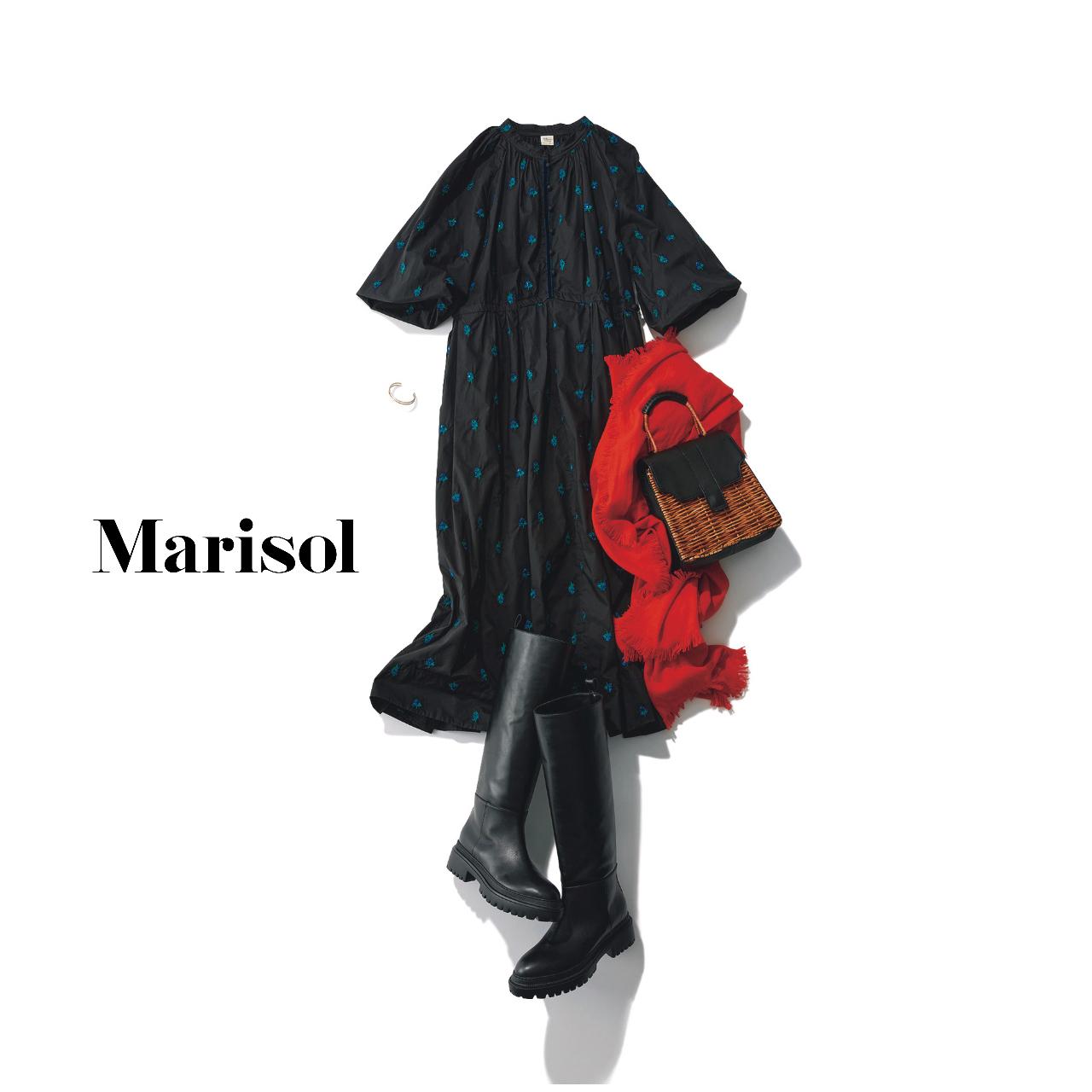 40代ファッション  ワンピース×ロングブーツ×ストールコーデ