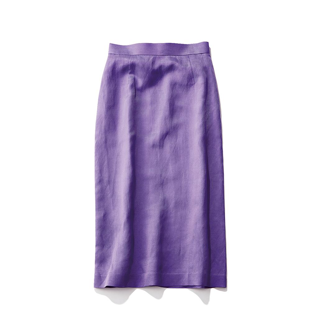 パープルリネンタイトスカート