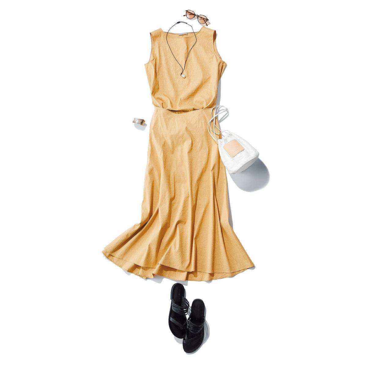 ■リネンのノースリーブブラウス×スカートのセットアップコーデ