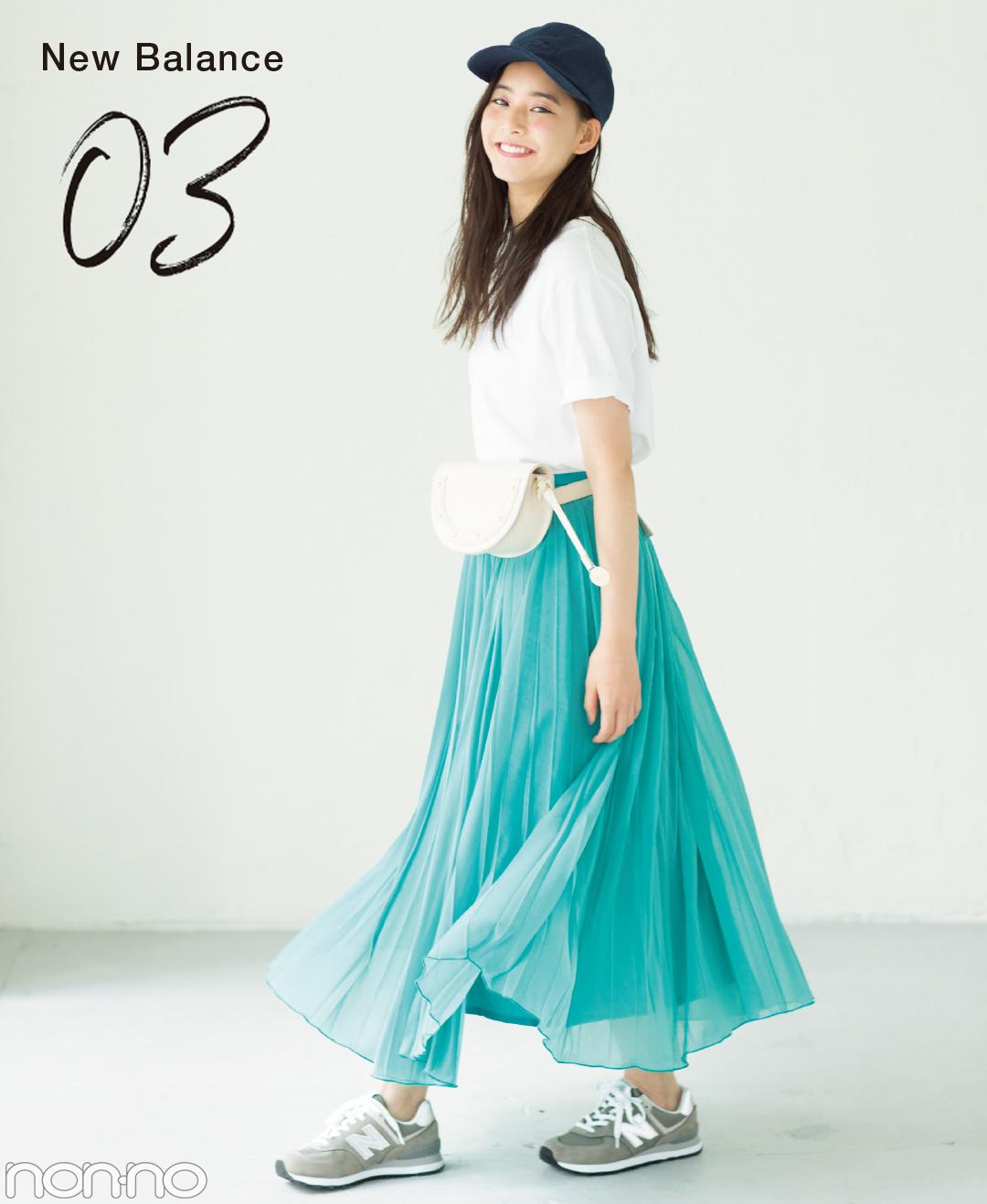 【夏のスニーカーコーデ】新木優子は、パステルスカートの甘さを程よく引き算してこなれコーデ。