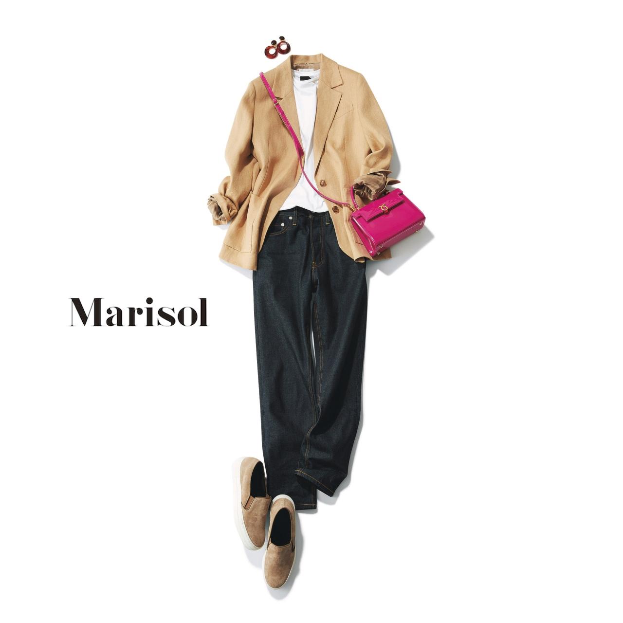 40代ファッション ベージュリネンジャケット×インディゴデニムコーデ