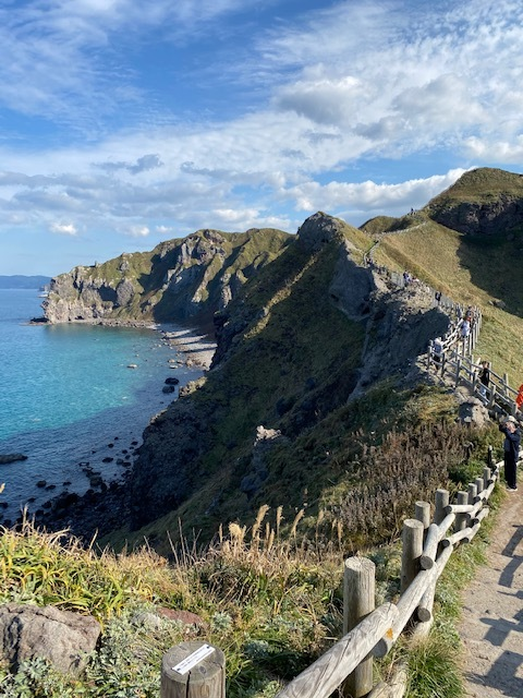 岬から帰る途中の眺め