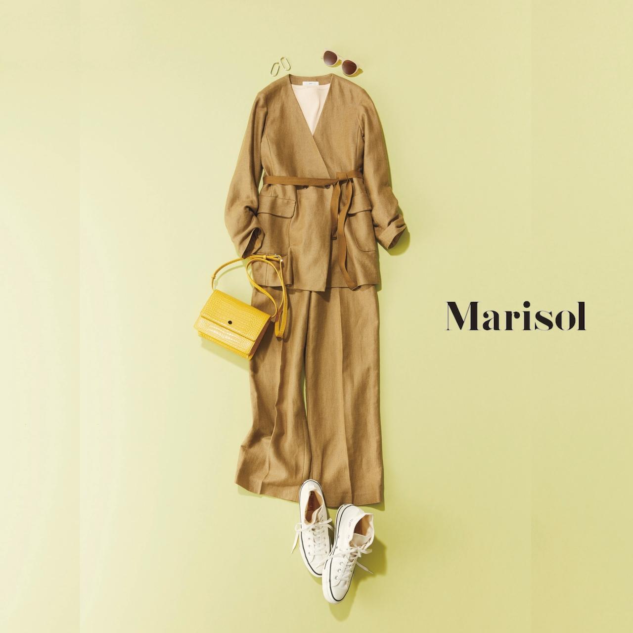 40代ファッション リネンジャケット×リネンワイドパンツコーデ