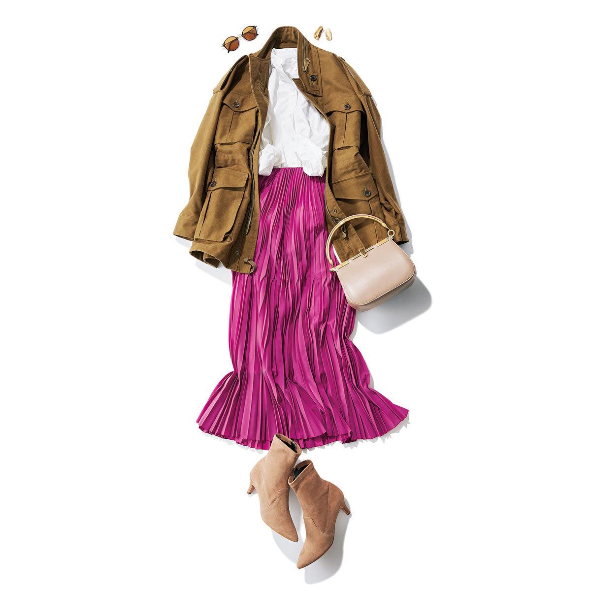 きれい色スカート×フィールドジャケット