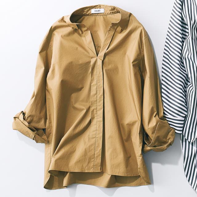 テラコッタカラーの綿シャツ