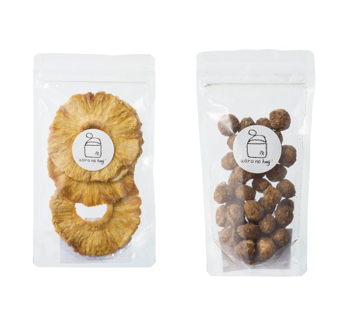 おやつ&おつまみに最適 waranobag の「黒糖マカダミアナッツ」「無添加 ドライパイン」_1_2