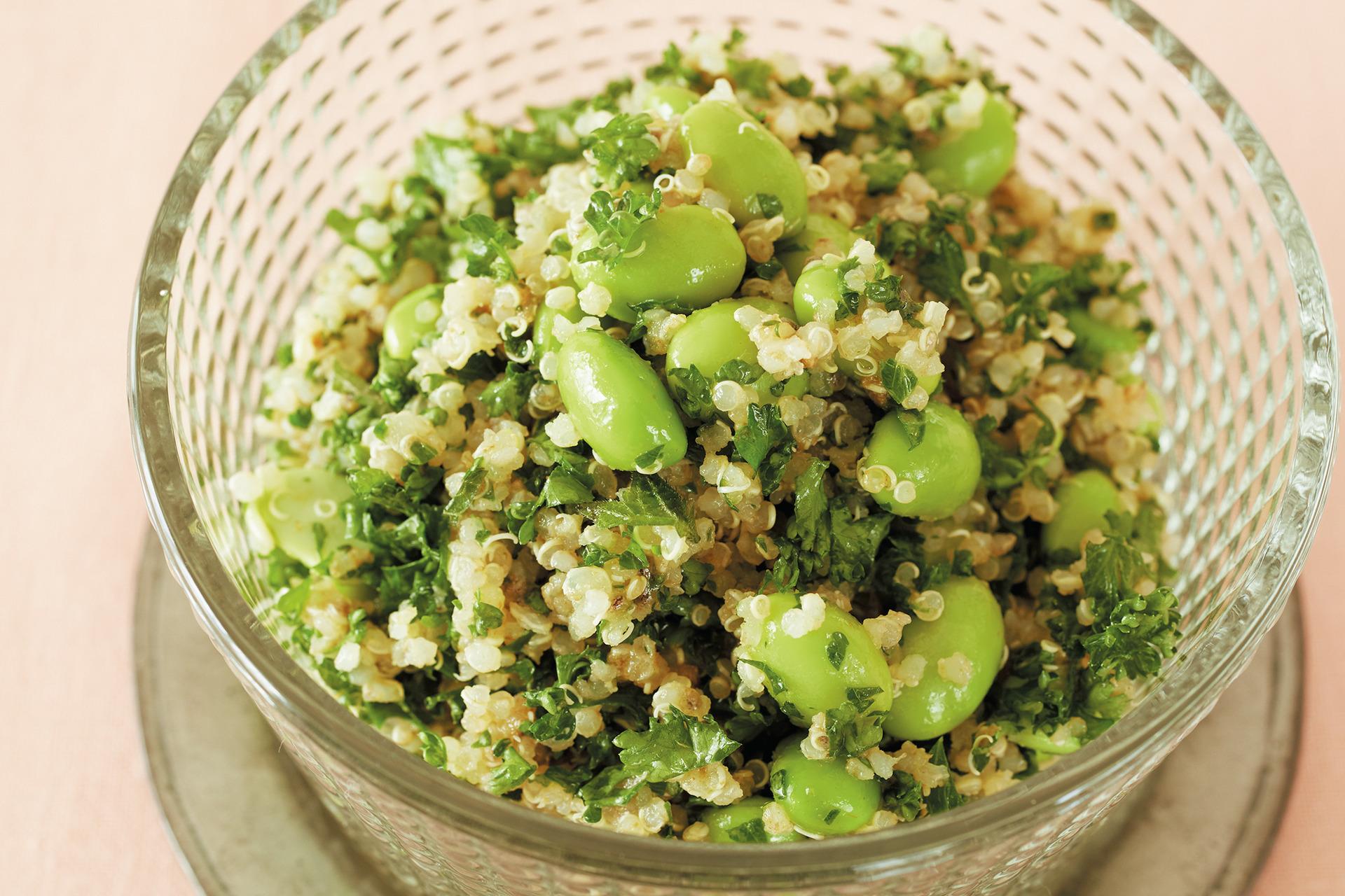 冷凍枝豆でさっとつくれる! パセリ、キヌア、枝豆のサラダ_1_1