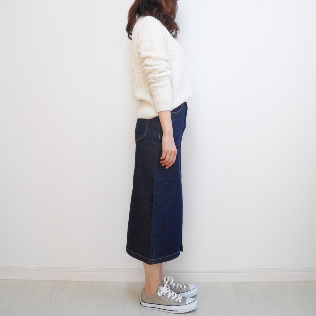 【GU新作】絶対買い!デニムフロントスリットミディスカート_1_7-2