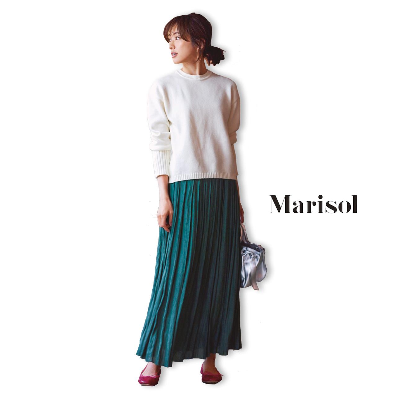 40代ファッション 白ふわコットンニット×グリーンギャザースカートコーデ
