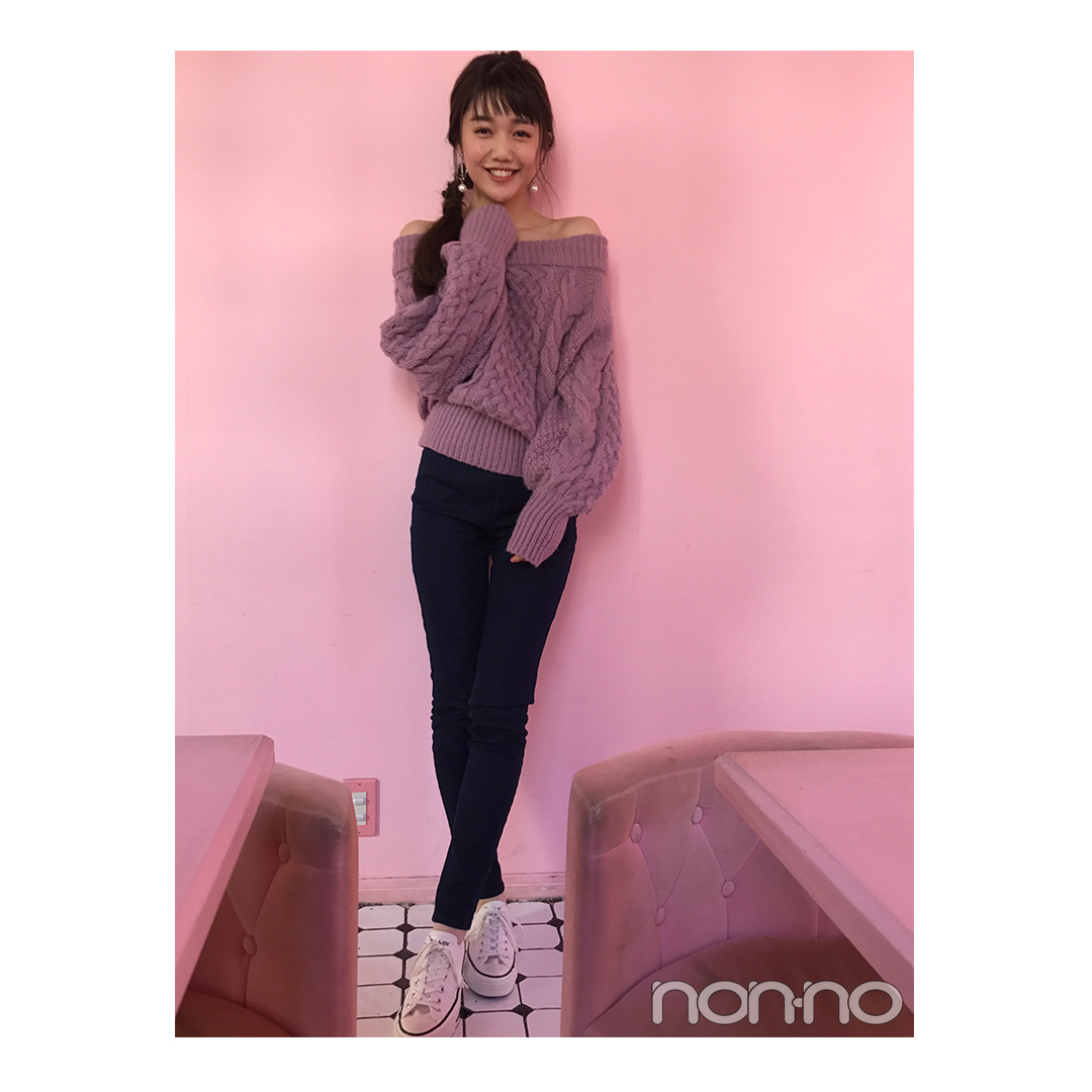 松川菜々花のピンク×デニムのカジュアルヘルシーコーデ【毎日コーデ】_1_1