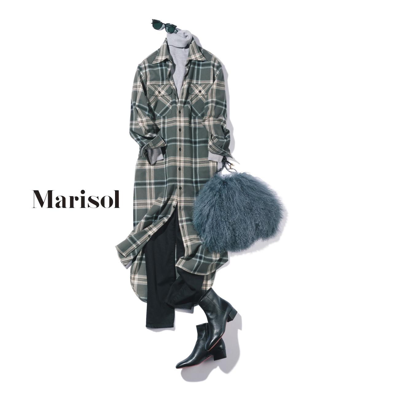 40代ファッション チェック柄ワンピース×パンツコーデ