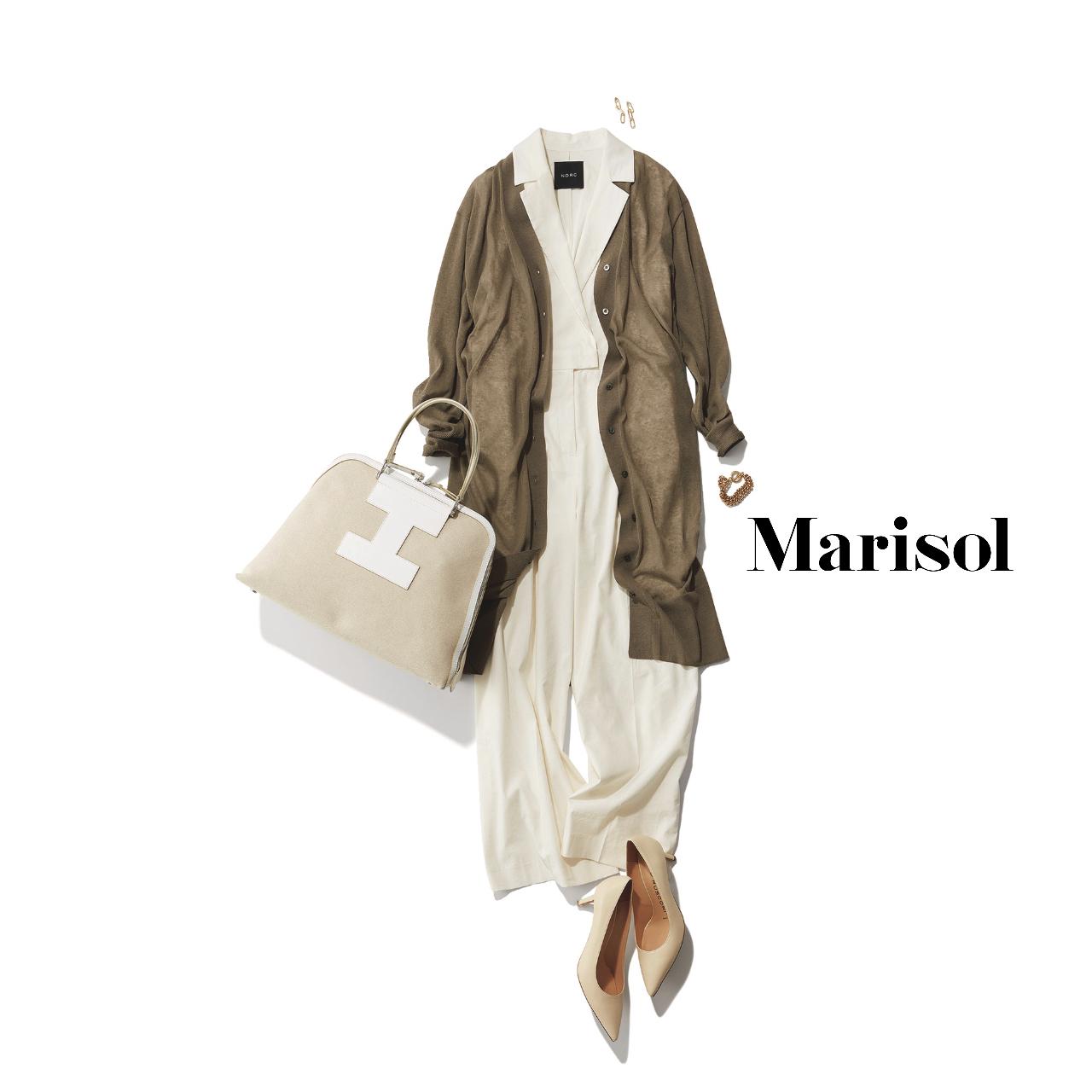 40代ファッション  白オールインワン×ロングカーディガンコーデ