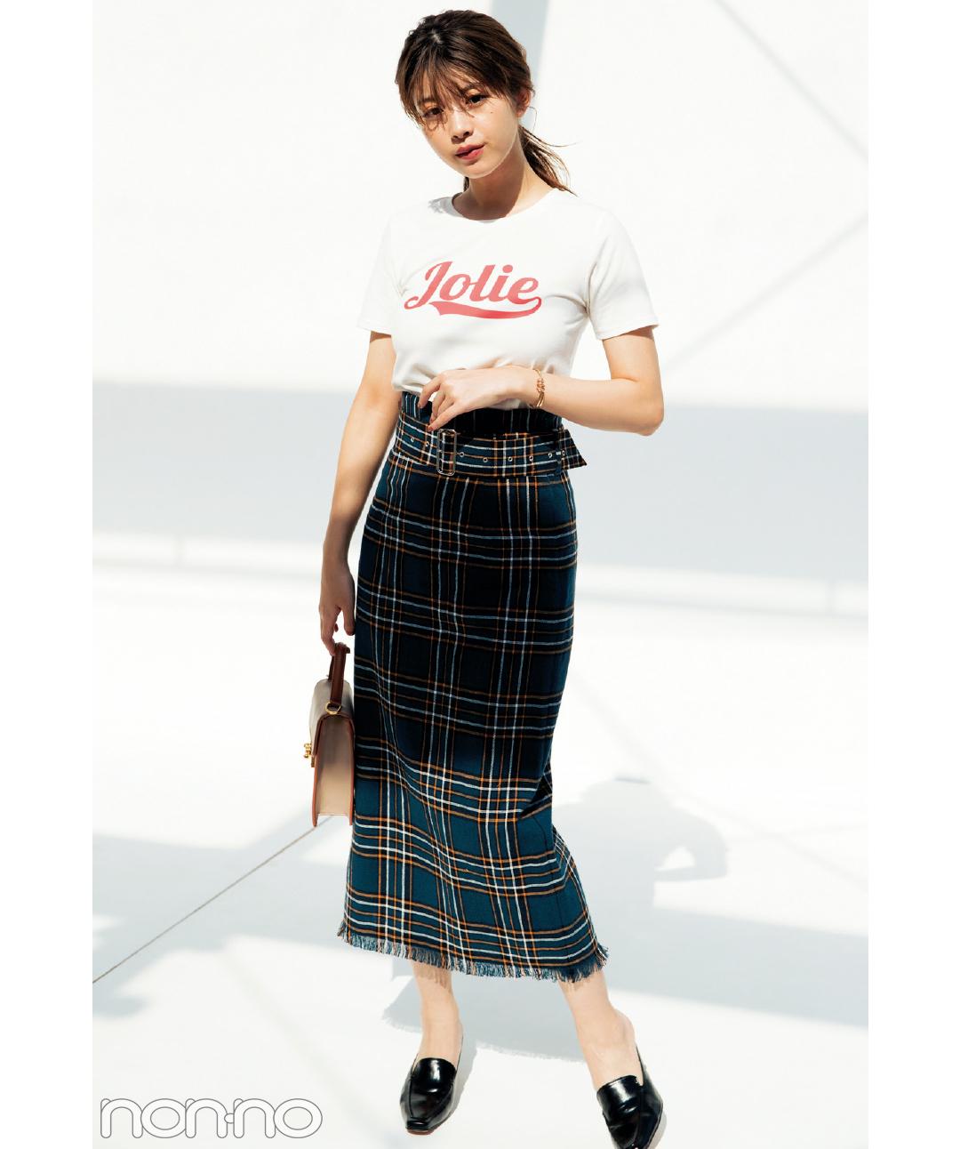 dazzlinのロゴTシャツで女っぽコーデ♡馬場ふみかが5通りに着回し!_1_3-1