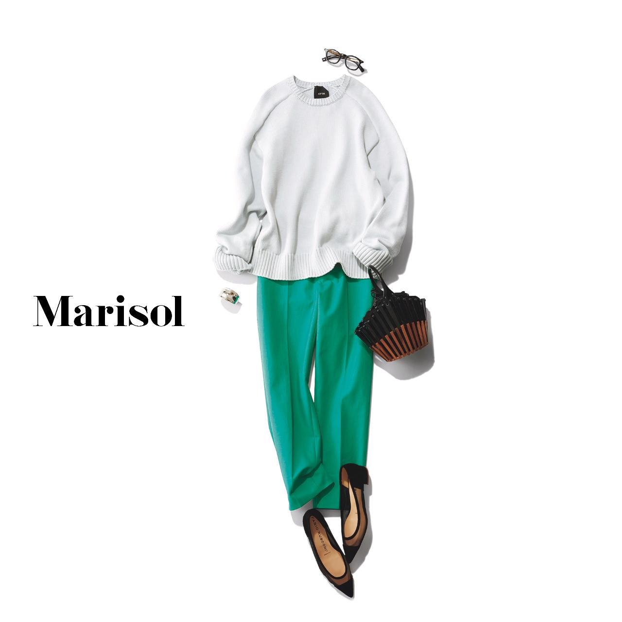 40代ファッション ニット×グリーンパンツ コーデ
