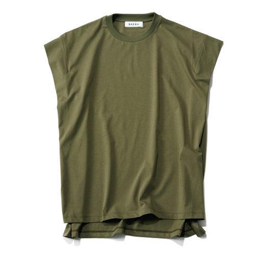 洗練されたTシャツコーデが叶う!「SACRA」コットンクルーネックトップ_1_2
