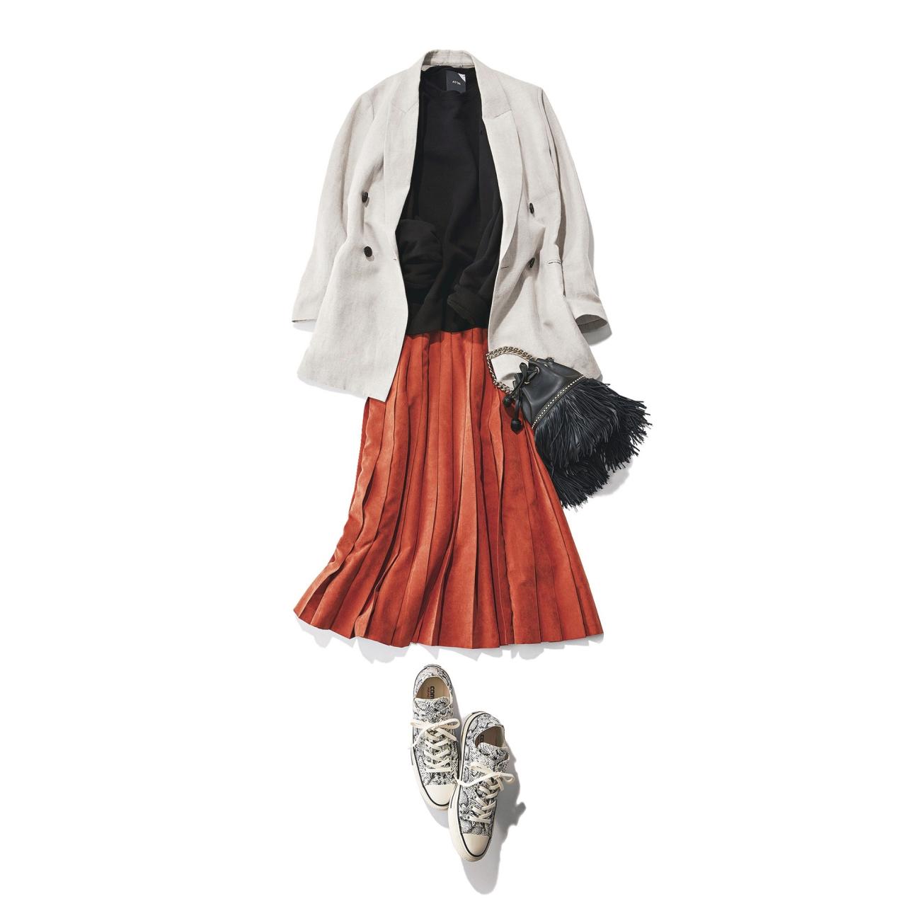 ジャケット×きれい色スカート×パイソン柄コンバースコーデ