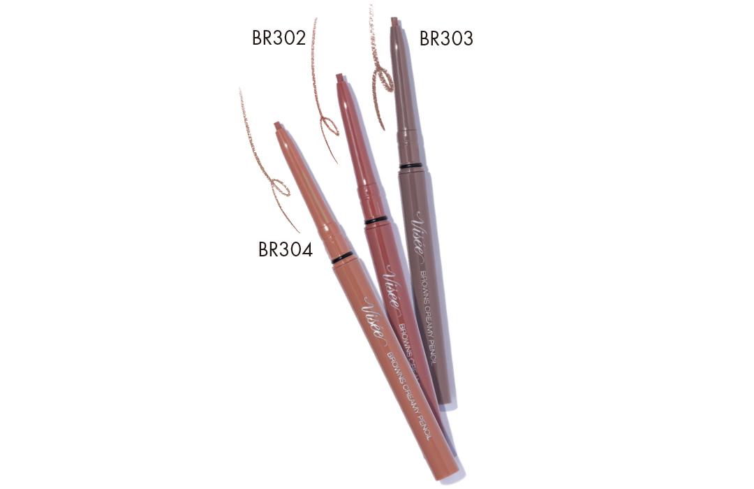 コーセー (右から)ヴィセ リシェ ブラウンズ クリーミィペンシル BR303・同 BR302・同 BR304