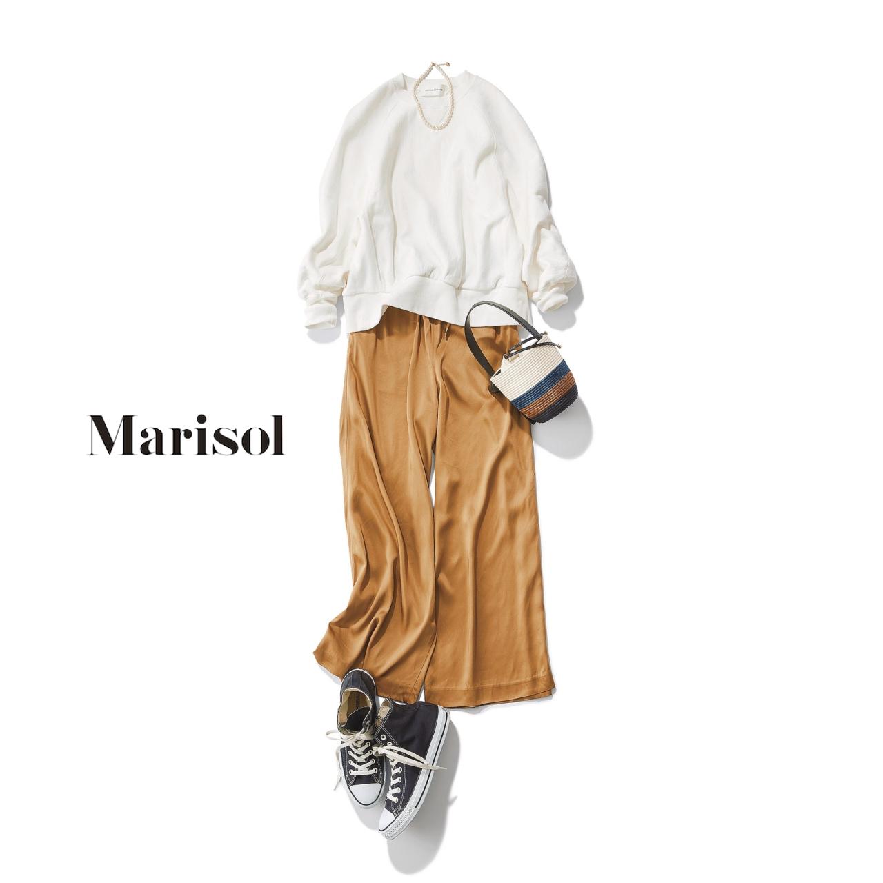 40代ファッション 白トレーナー×ベージュワイドパンツコーデ