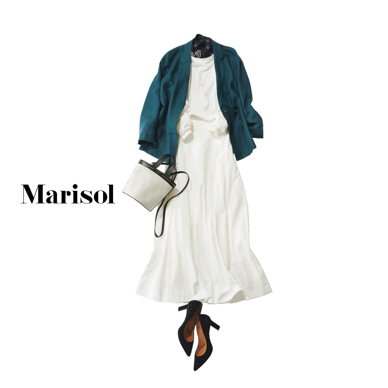 40代ファッション ジャケット×白ワンピースコーデ