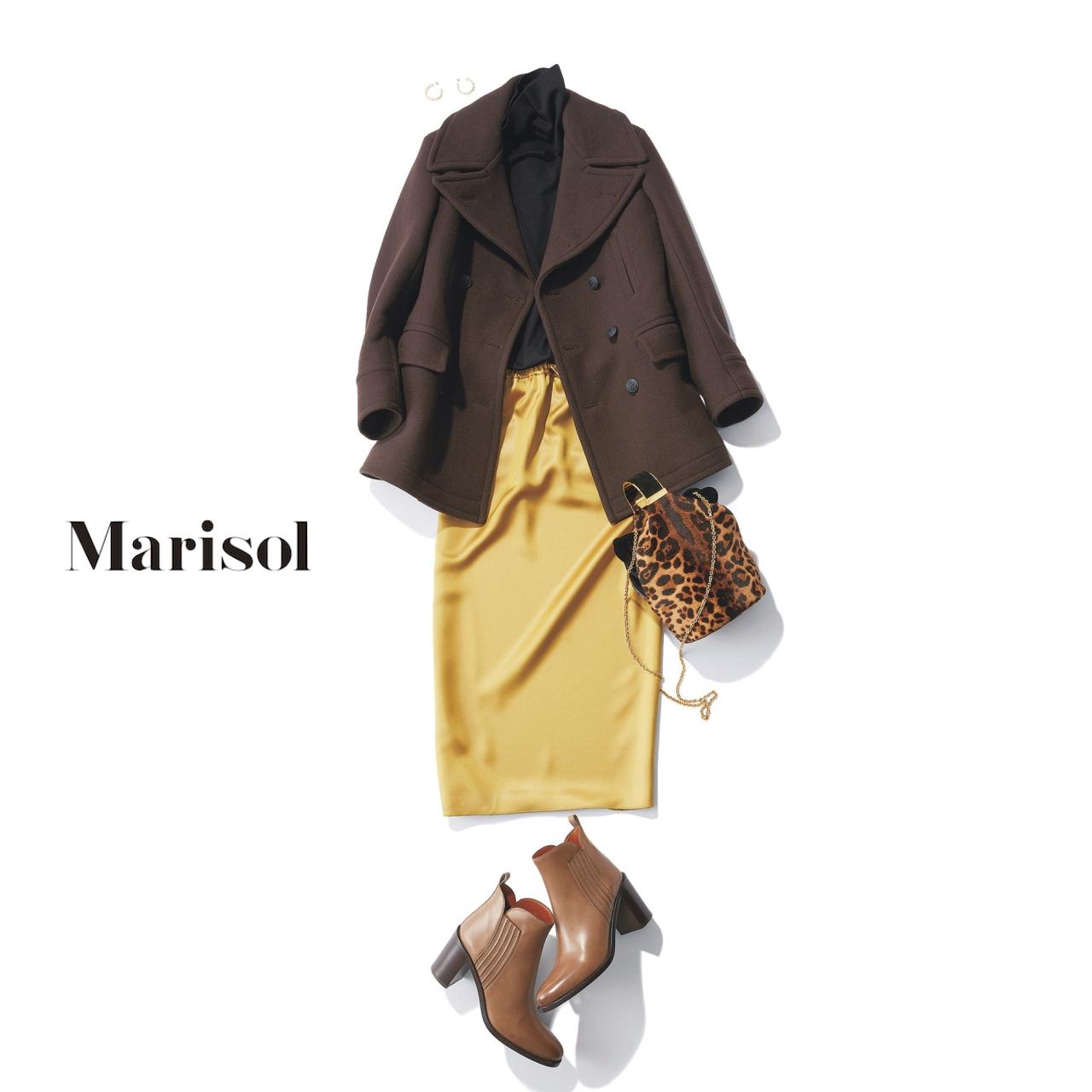 40代ファッション Pコート×タイトスカートコーデ