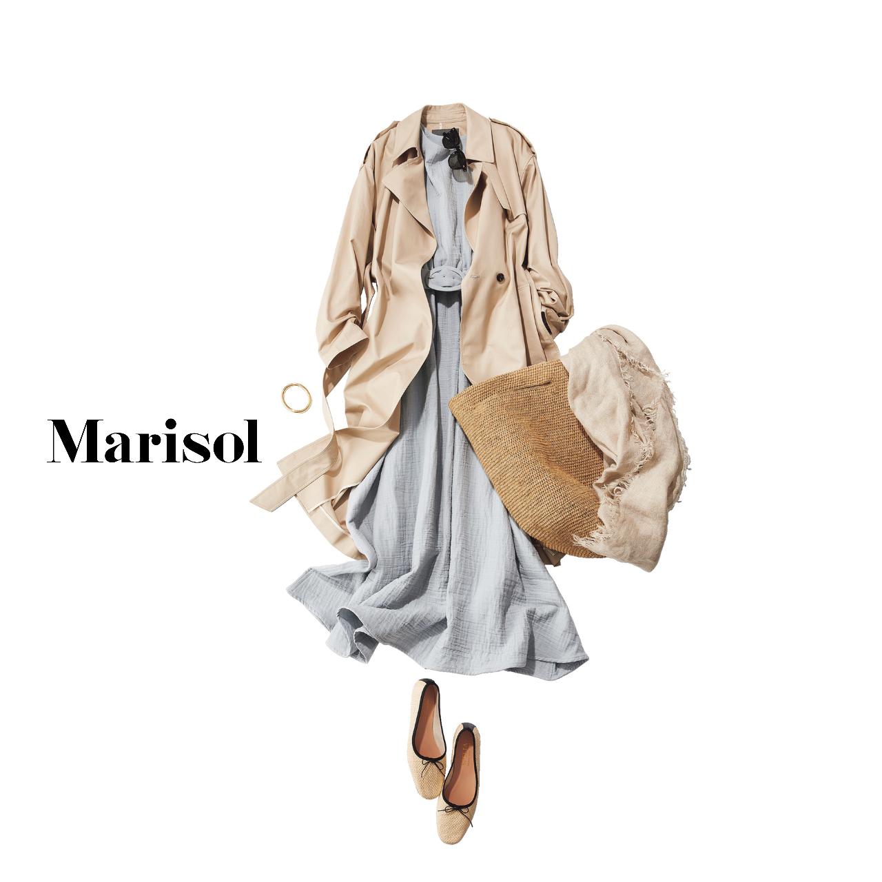 40代ファッション ワンピース×トレンチコート コーデ
