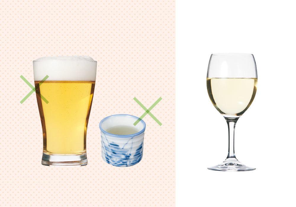 夕食で糖質オフする方法1 ワインは◎。ビール、日本酒はNG