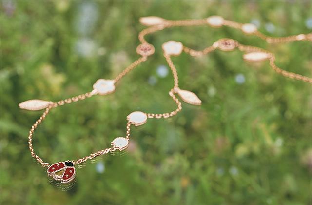 「ラッキースプリング」ロングネックレス(RG×カーネリアン×オニキス×MOP)¥1,927,200/ヴァン クリーフ&アーペル ル デスク(ヴァン クリーフ&アーペル)