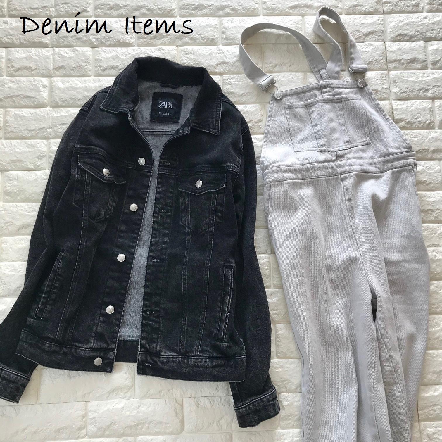 デニムのジャケットとサロペット画像