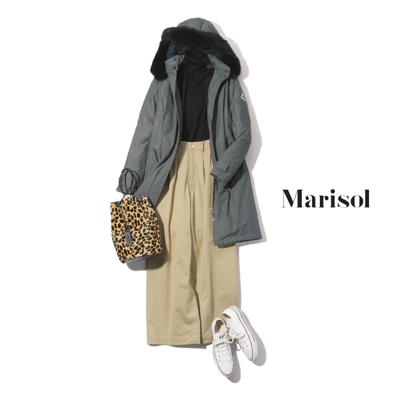 40代ファッション ダウンコート×チノワイドパンツコーデ