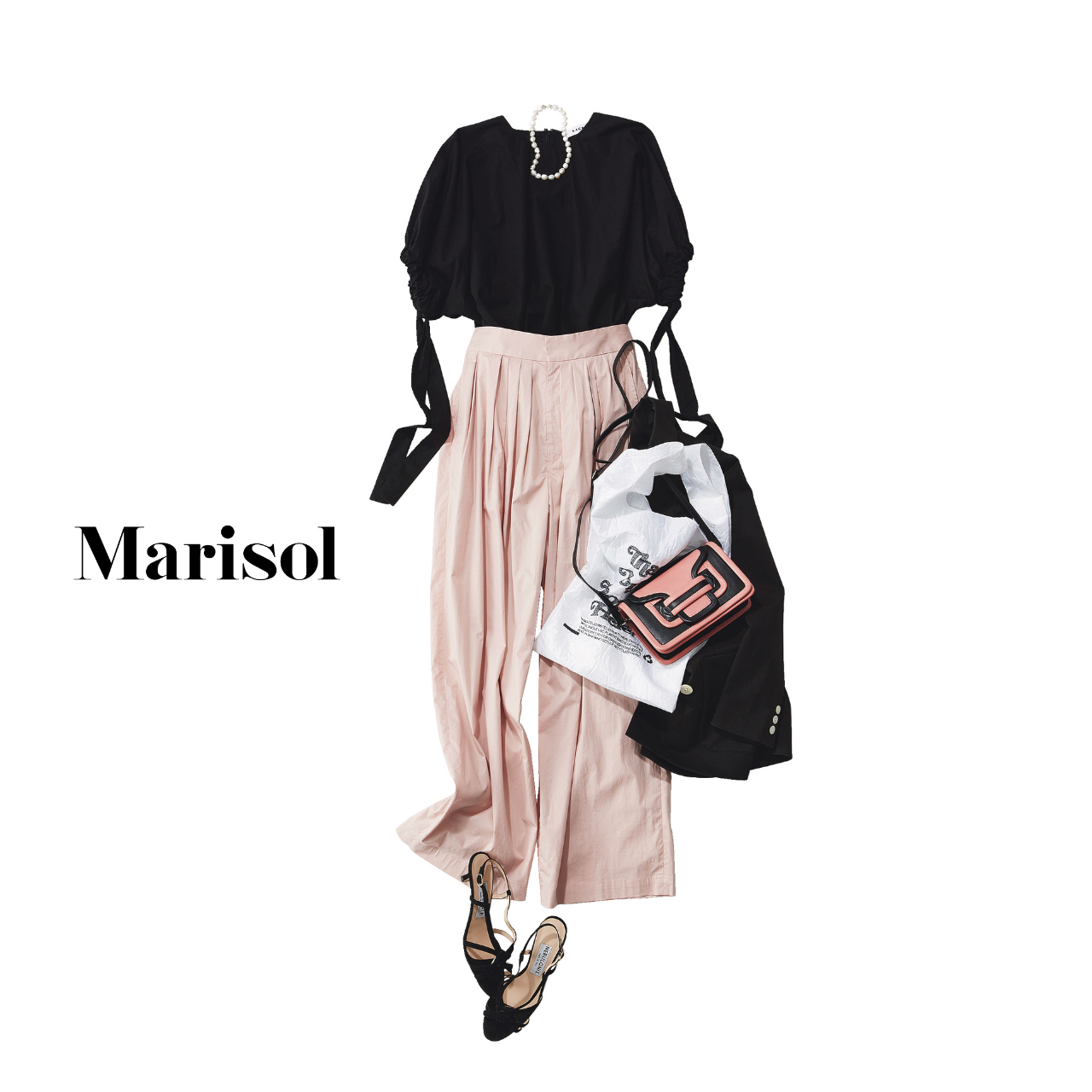 40代ファッション  黒ブラウス×ピンクパンツコーデ
