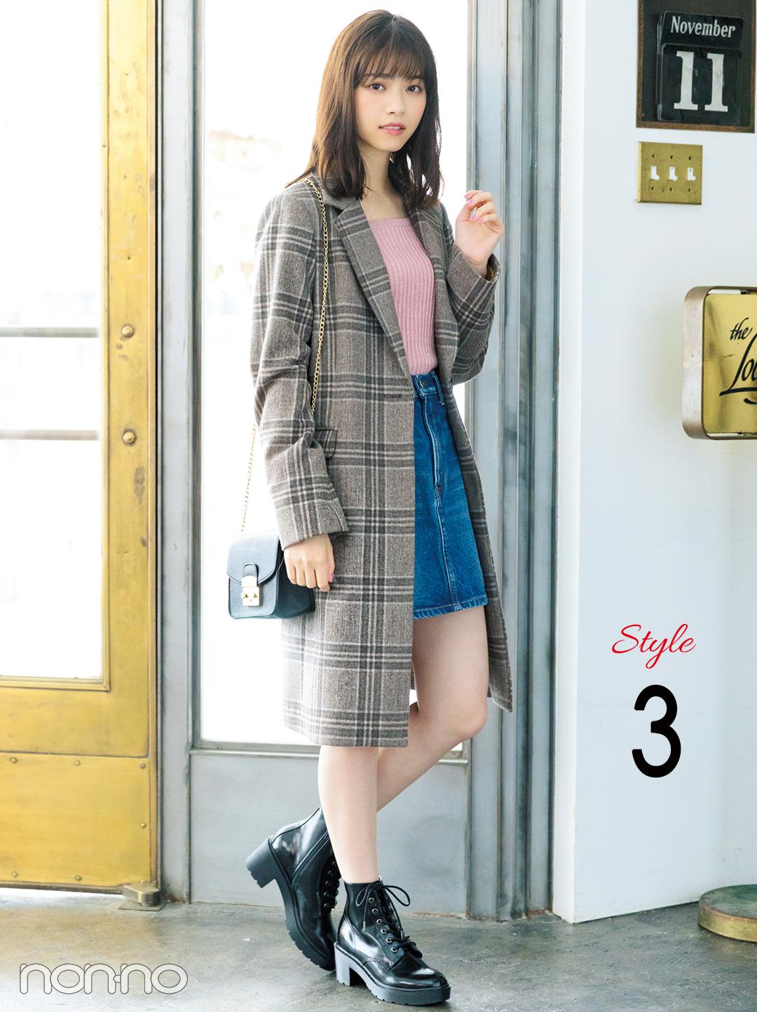 西野七瀬の真冬コーデはチェックコート×ミニ丈デニムスカート!_1_3-2
