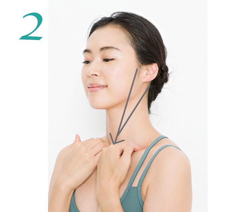 2.左右の手の人さし指と中指で左右それぞれの耳をはさみ、耳から鎖骨に向かって押し流す。これを3回。