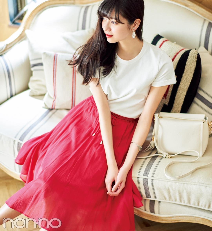新川優愛、白の無地Tシャツを5通りに着回す!_1_2-4