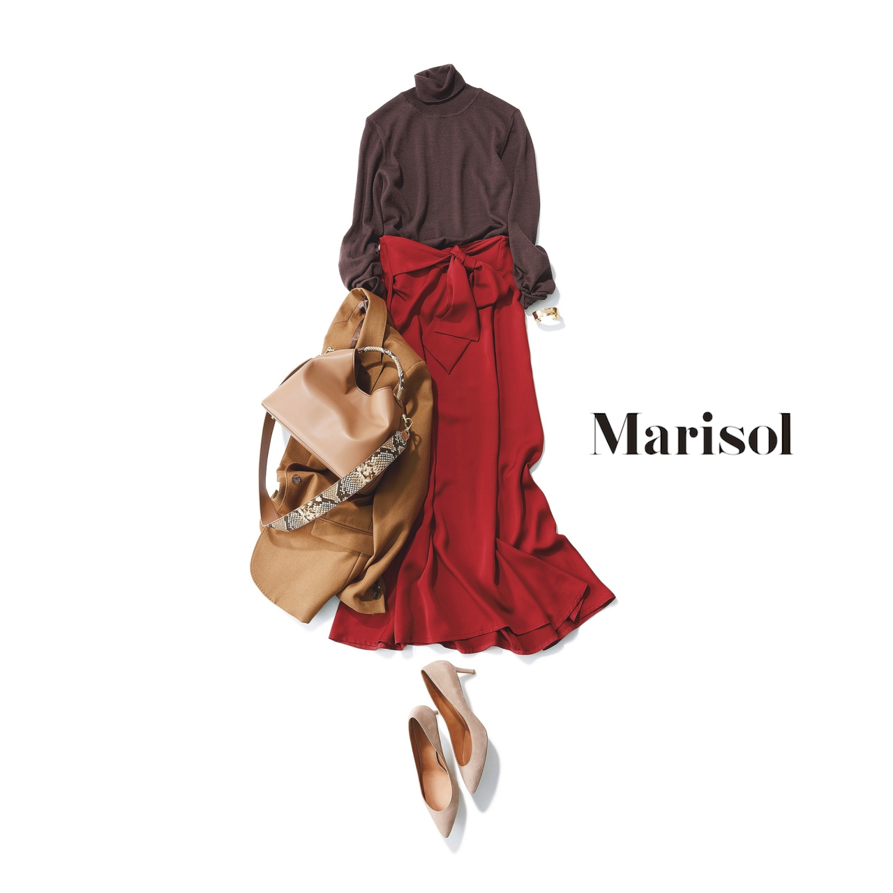 40代ファッション ブラウンニット×レッドスカートコーデ