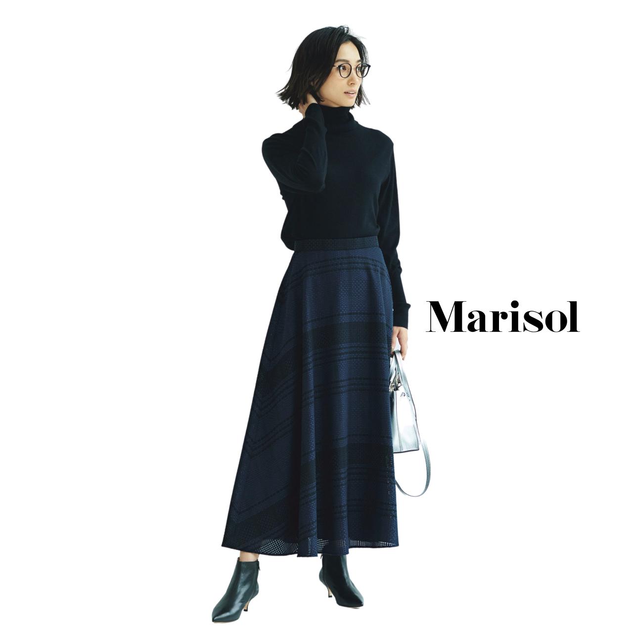 40代ファッション タートルネックニット×ジャガードスカートコーデ