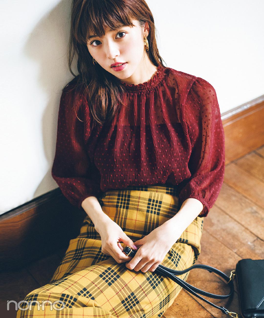 【チェックコーデ】鈴木優華は、さりげないドットをチェックスカートで感度UP♡