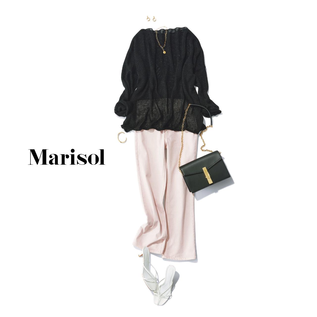 40代ファッション メッシュニット×ピンクデニムパンツコーデ
