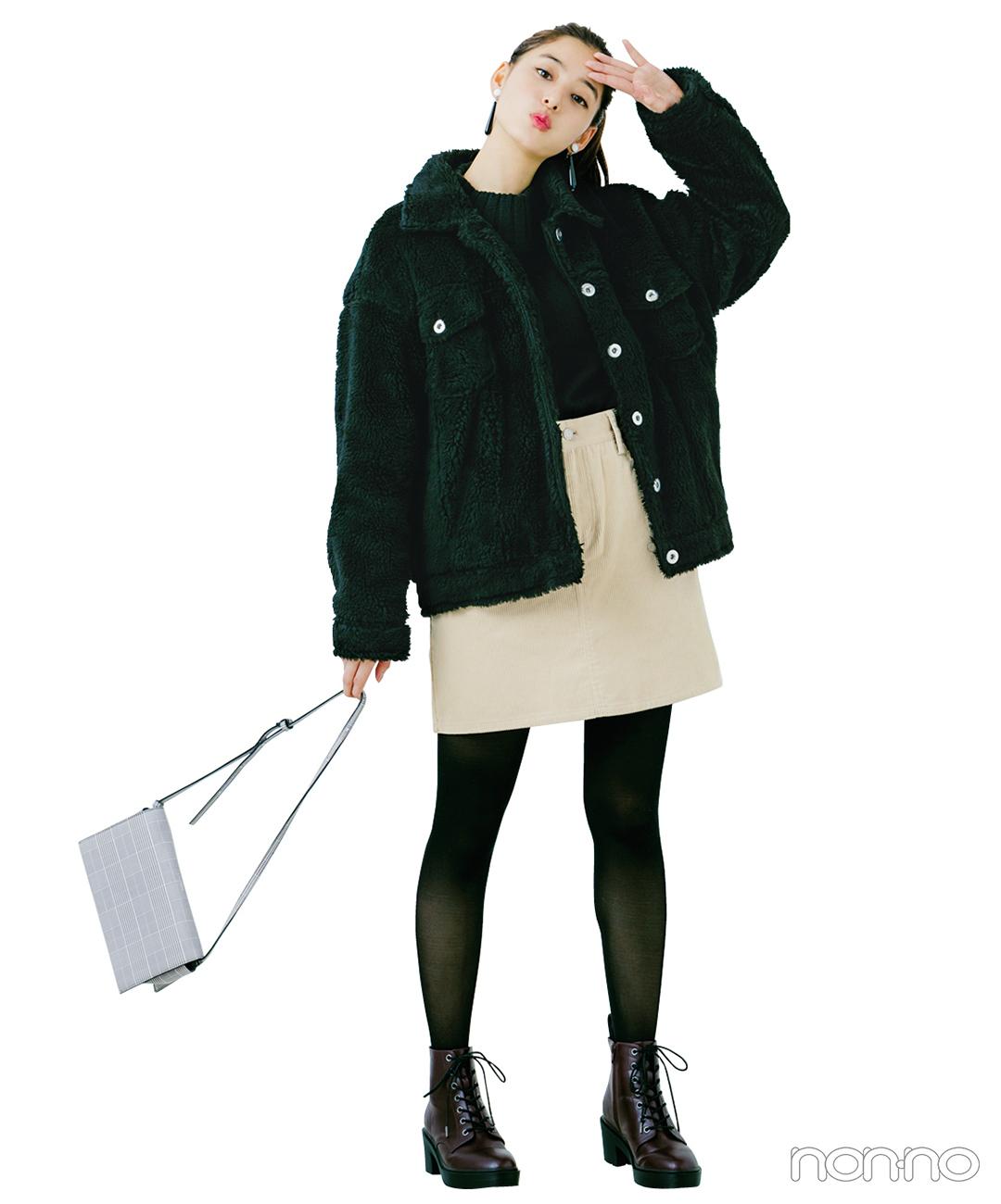 新木優子はふわもこ素材で遊びを効かせたモノトーンスタイル【毎日コーデ】