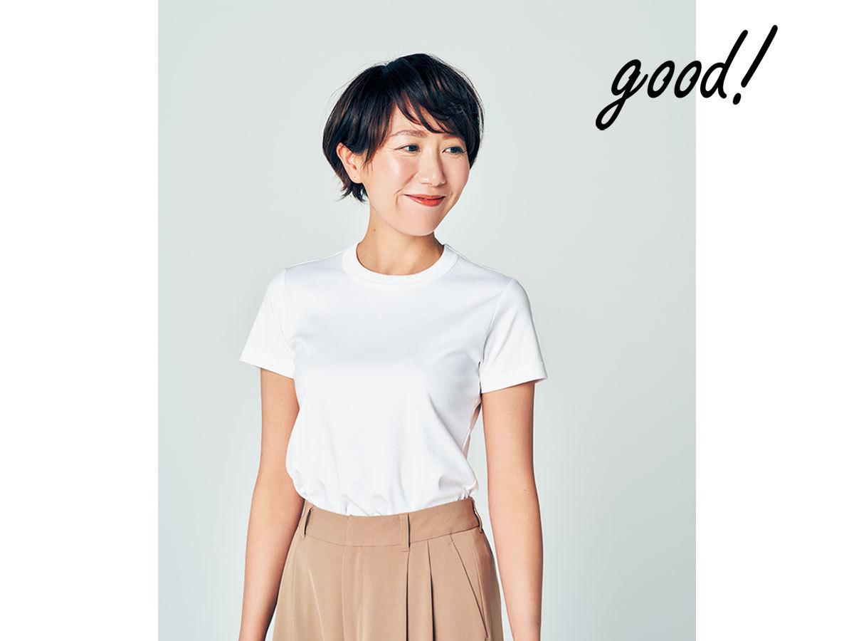 華奢に見える白Tシャツ4