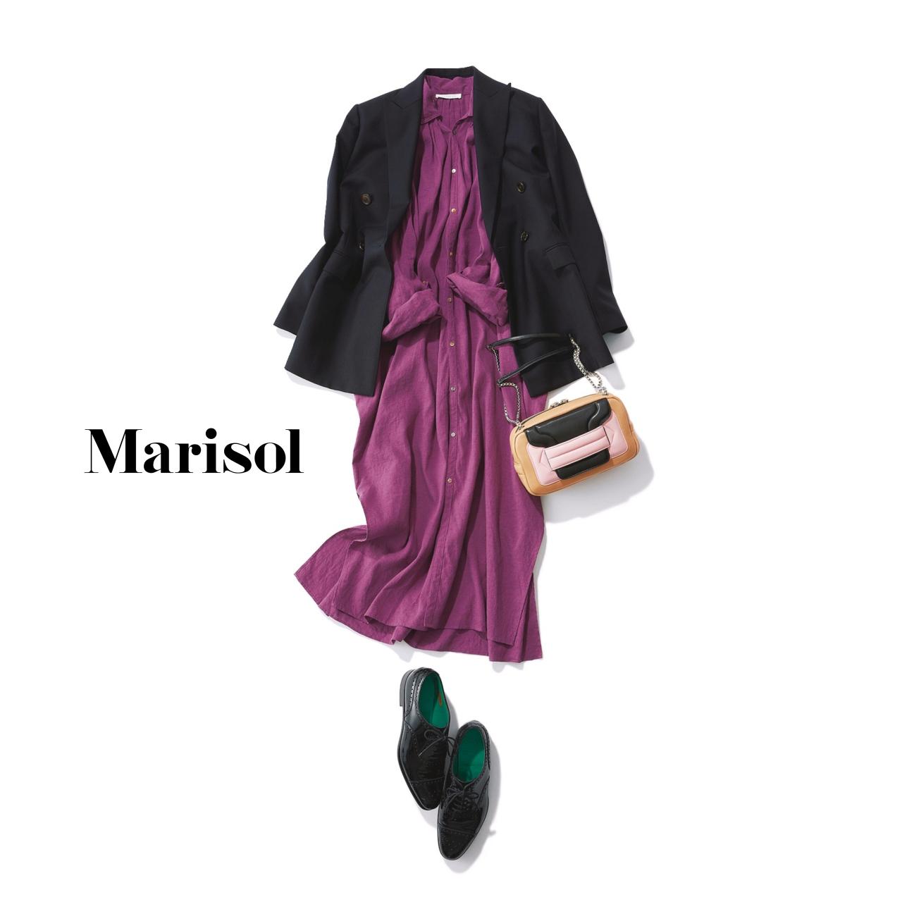 40代ファッション シャツワンピース×ジャケットコーデ