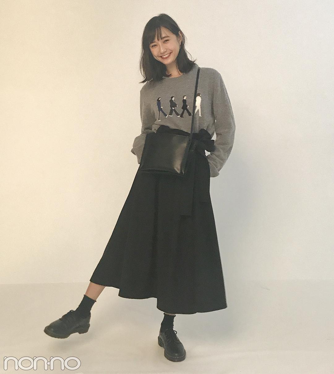 鈴木友菜の秋コーデが可愛い! ワイドスカートにニットをイン★【モデルの私服】_1_1