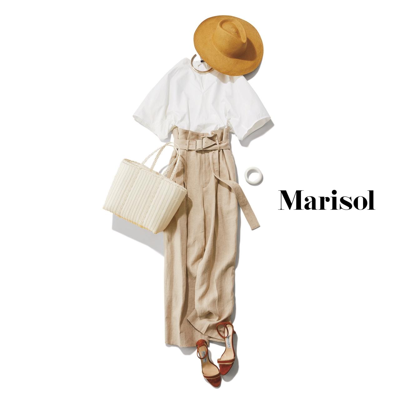 40代ファッション 白トップス×ベージュワイドパンツコーデ