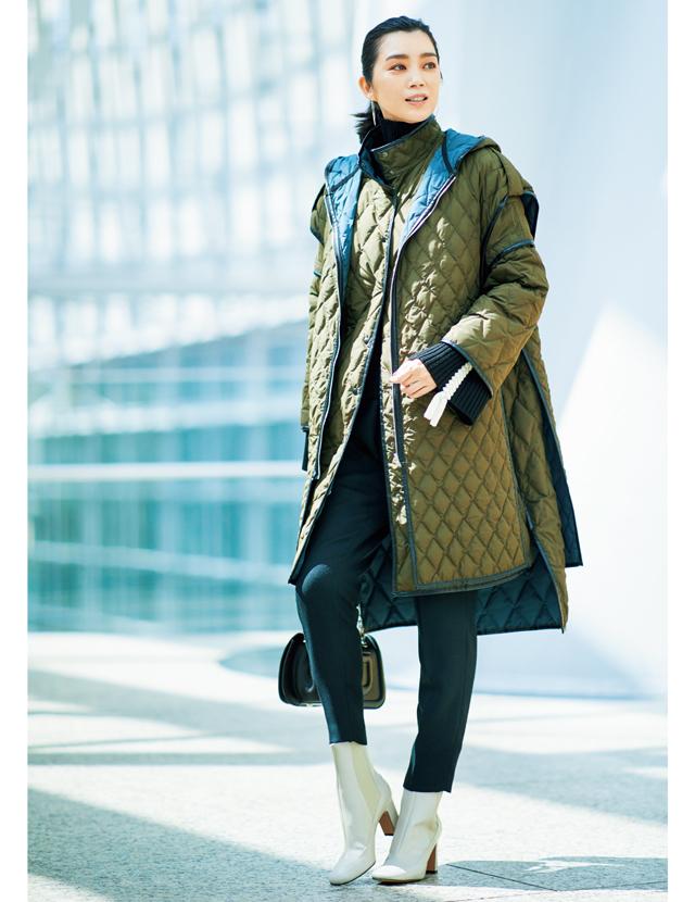 何通りにも着られてお得なビッグシルエットの個性派キルティングコート