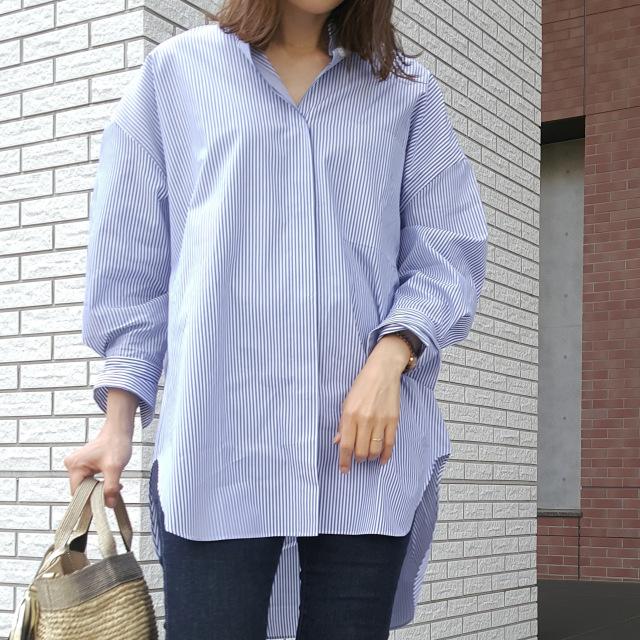 ブルーのストライプシャツで初夏の爽やかワンマイルコーデ_1_1
